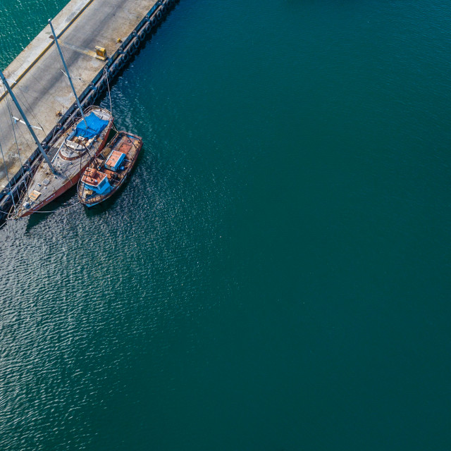"""""""Boats in harbour. Aerial"""" stock image"""
