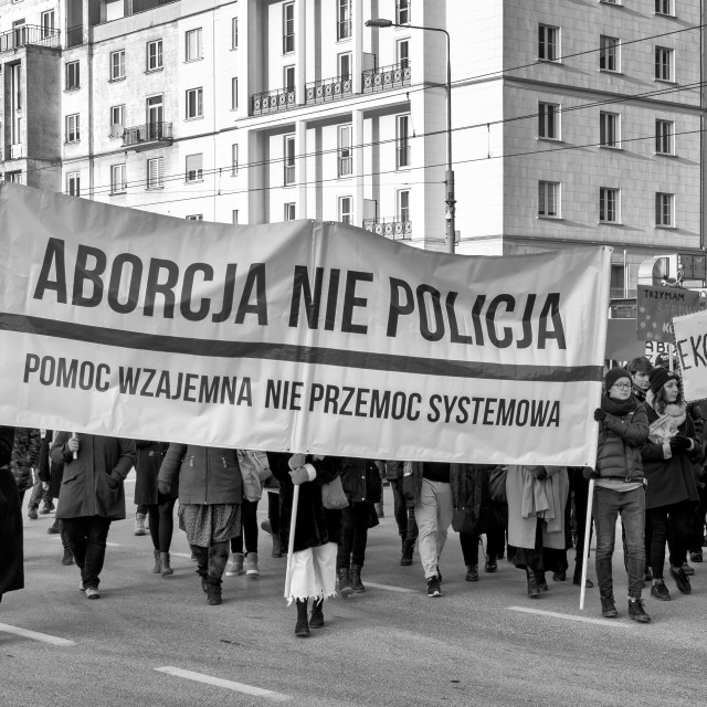 """""""Abortion, not police. Mutual help. Not systemic violence"""" stock image"""