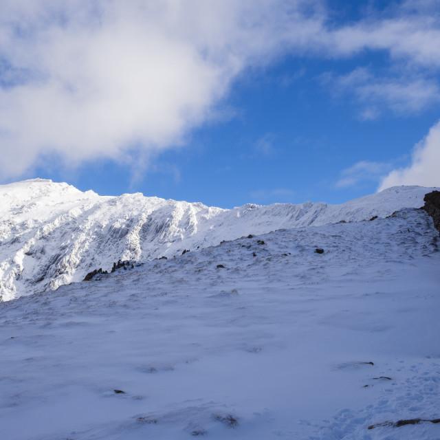 """Snowdon in winter snow"" stock image"