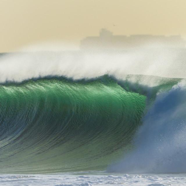 """""""Ocean Wave Crashing Ship"""" stock image"""