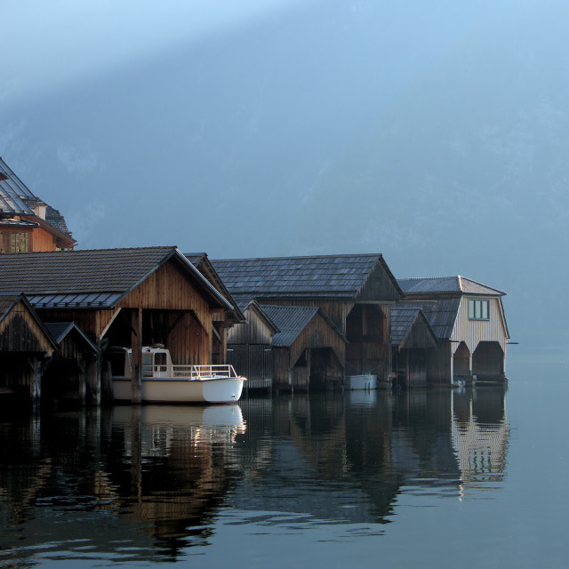 """""""Boat houses in Hallstatt, Austria"""" stock image"""