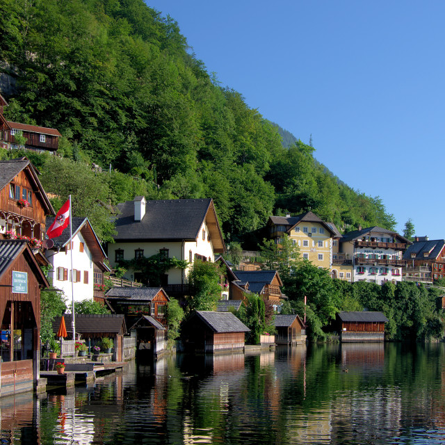 """Hallstatt and Lake Hallstatt"" stock image"