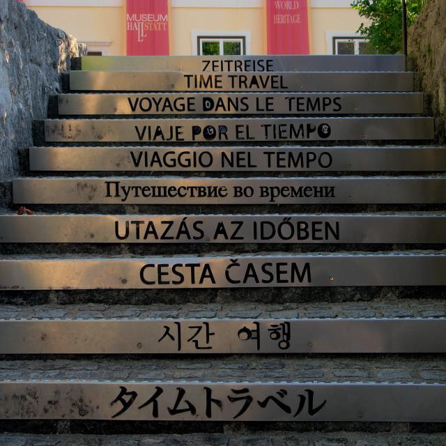 """Staircase to the Hallstatt Museum"" stock image"