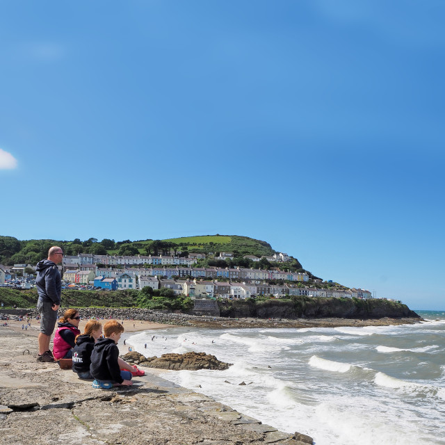 """""""New Quay easide town on the Cardigan Bay coast of West Wales"""" stock image"""