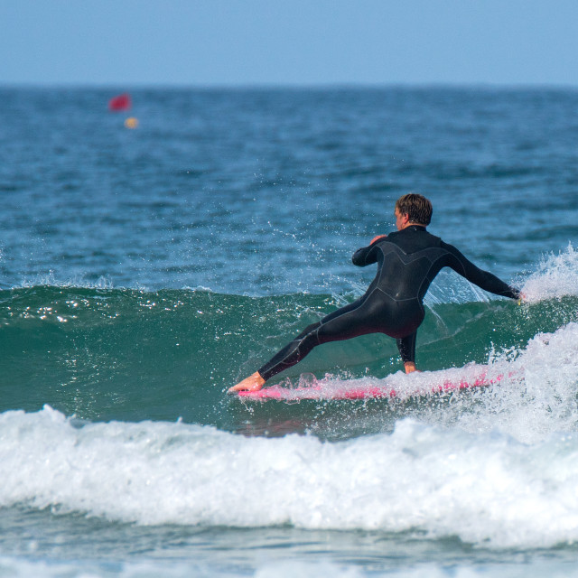 """""""Hang five in Newquay"""" stock image"""