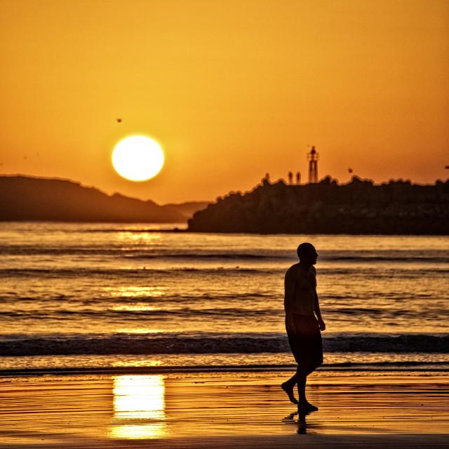 """Moroccan sunset - Essaouira beach"" stock image"
