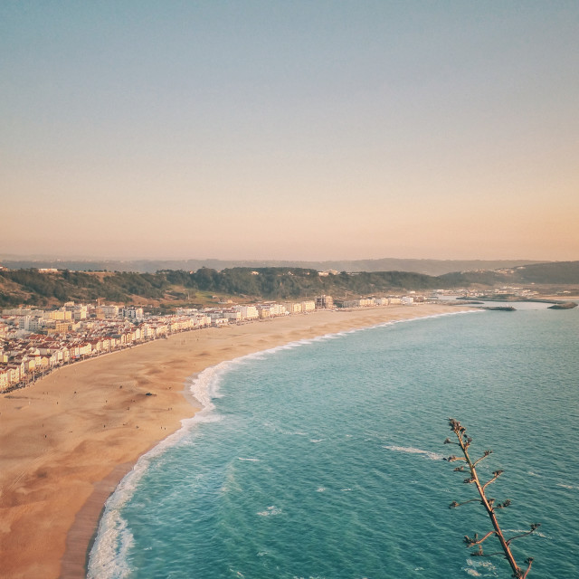 """""""Top view of the beach and city of Nazareth Portugal"""" stock image"""