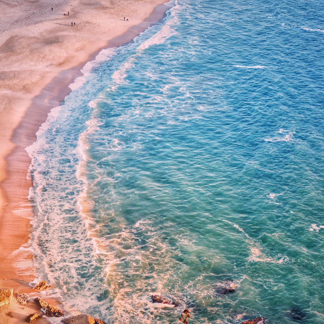 """Sand Beach Top View Nazaré Portugal"" stock image"
