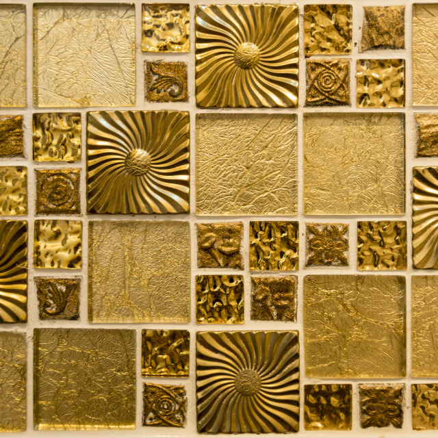 """""""Golden brown mosaic background of tles"""" stock image"""