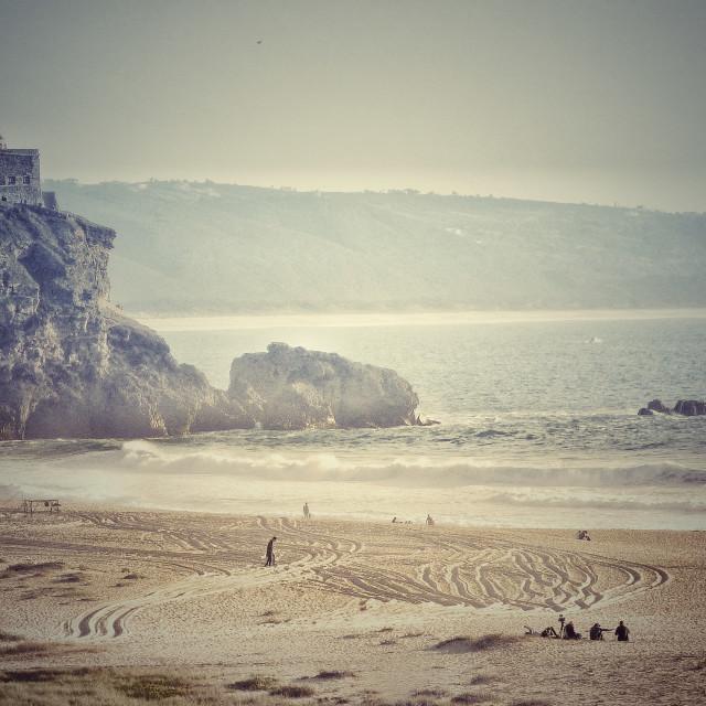 """North beach of Nazareth Portugal"" stock image"