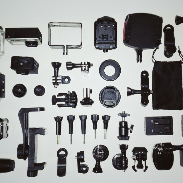 """""""top view of action cams material"""" stock image"""