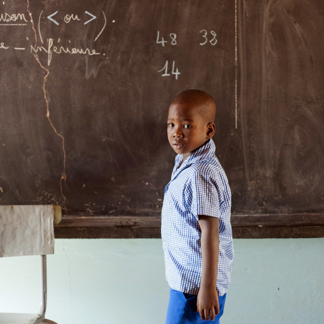 """Pupil at Ecole Agora, Niamey, Niger"" stock image"