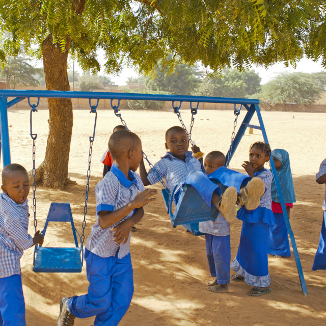 """Children playing at a school in Niamey, Niger"" stock image"