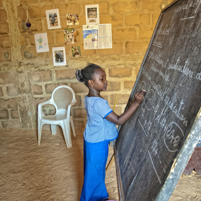 """Jamila at school; Niamey, Niger"" stock image"