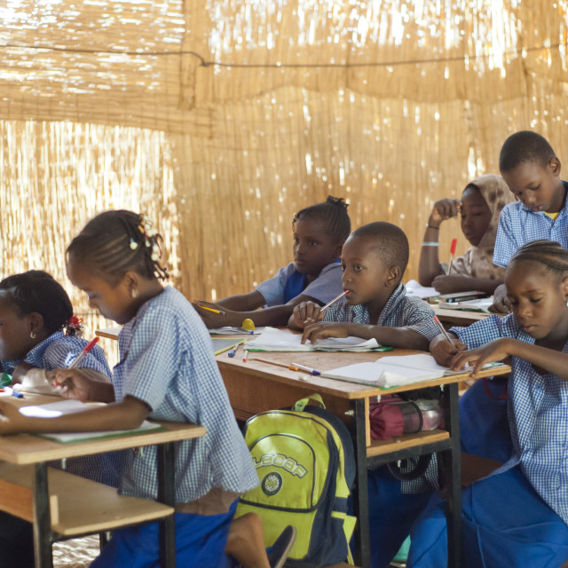 """Pupils in classroom at school in Niamey, Niger, West Africa"" stock image"