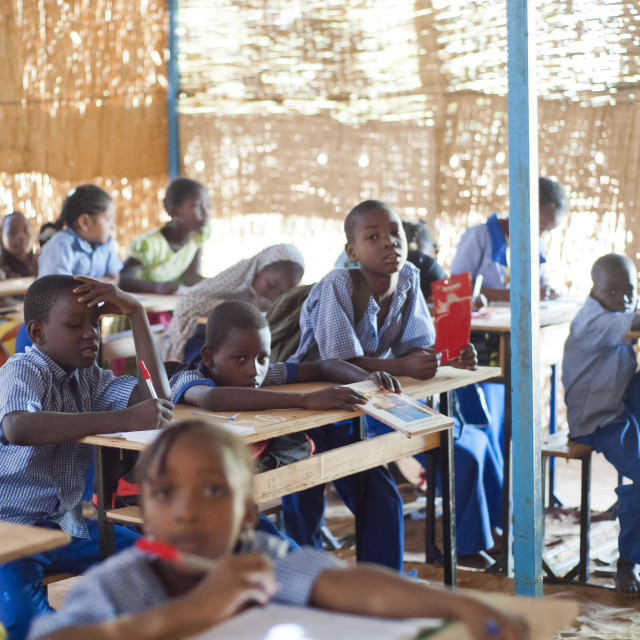 """Classroom at school in Niamey, Niger, West Africa"" stock image"