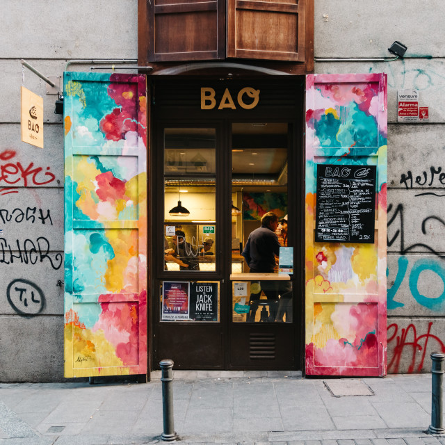 """Storefront Malasaña district in Madrid"" stock image"