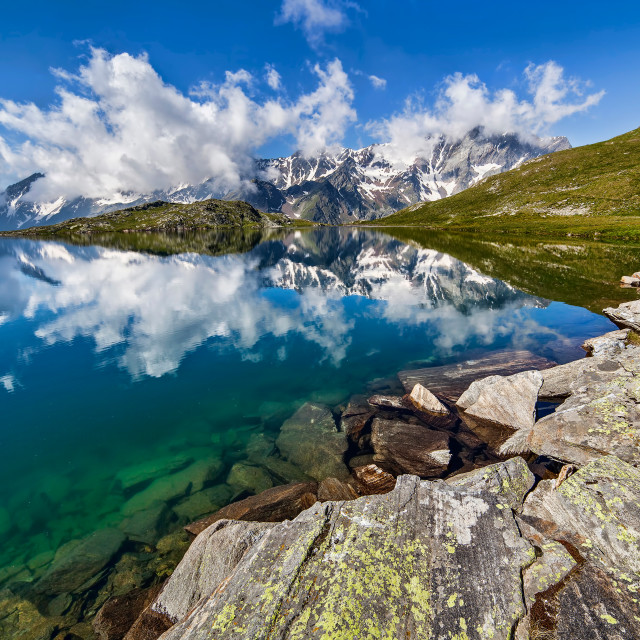 """Black Lake to Gavia Pass-Stelvio Park"" stock image"