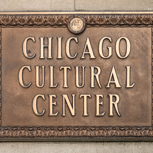 """Chicago Cultural Center Plaque"" stock image"