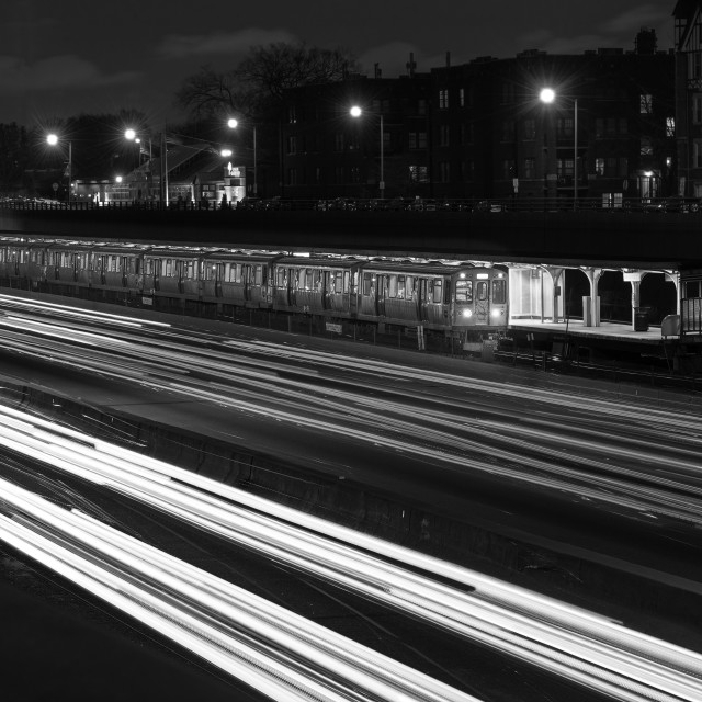 """Chicago Evening Commute BW"" stock image"