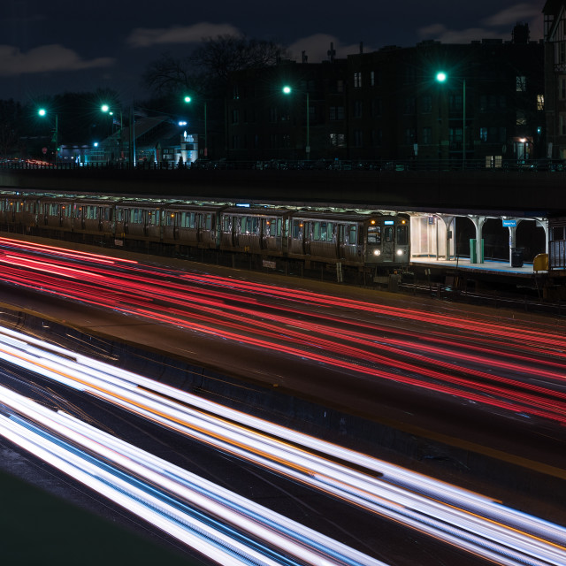 """""""Chicago Evening Commute"""" stock image"""