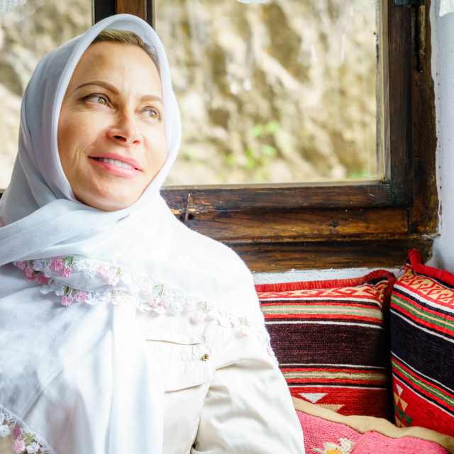"""""""Woman in a headscarf"""" stock image"""