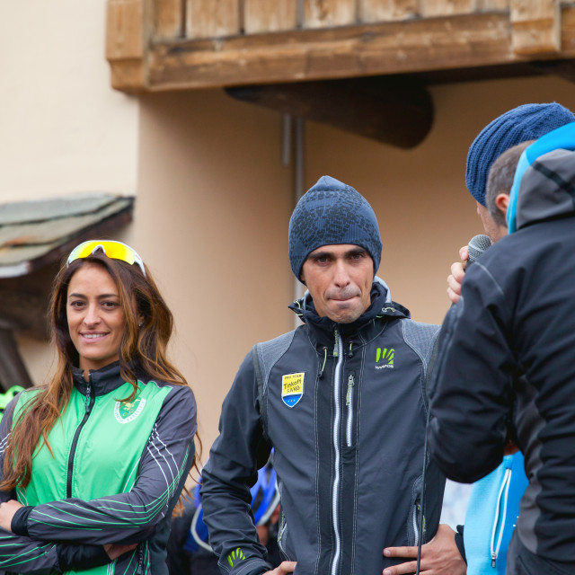 """Alberto Contador at the Gavia Pass-Rally 2015 summer"" stock image"