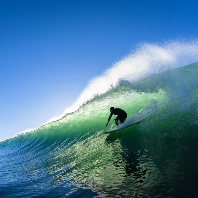 """Surfing Surfer Tube Ride Water Photo"" stock image"