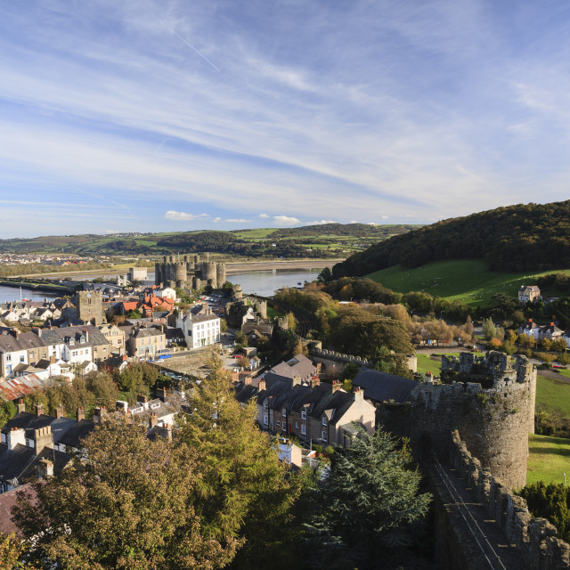 """Conwy old town Wales"" stock image"