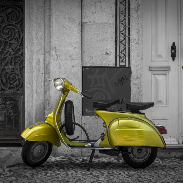 """""""green scooter parked in the street of Lisbon Portugal"""" stock image"""