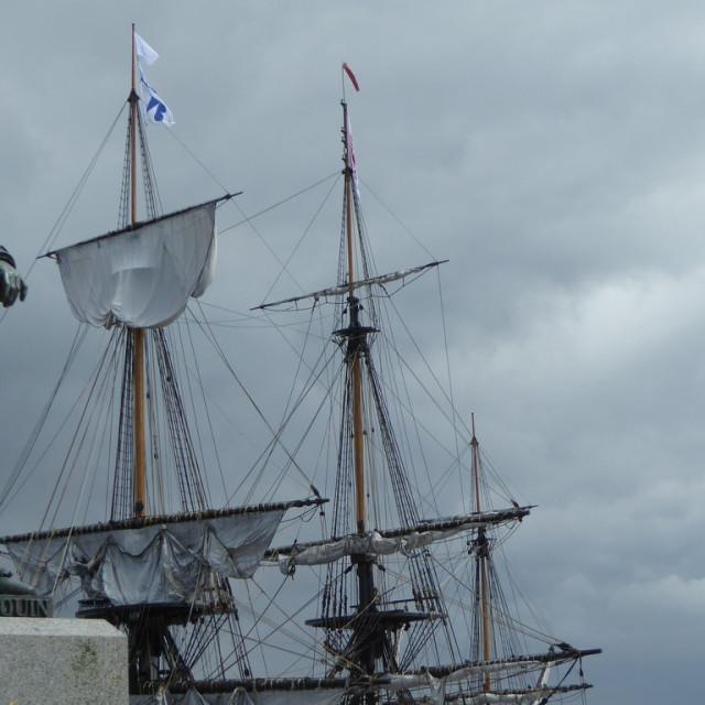 """Statue of Lt General Du Guay Trouin in St Malo"" stock image"
