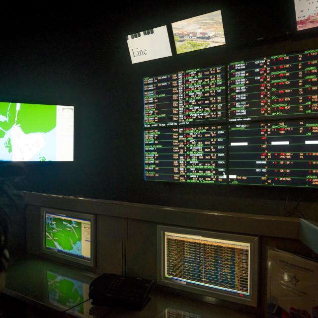 """Panama, Province Of Panama, Panama City, Control Room At Miraflores Locks"" stock image"