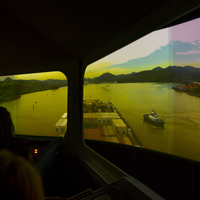 """Panama, Province Of Panama, Panama City, Navigation Simulator In Miraflores..."" stock image"