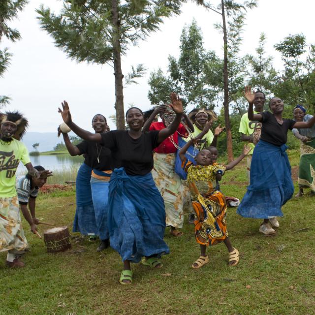 """Traditional dance in nkombo island on kivu lake - rwanda"" stock image"