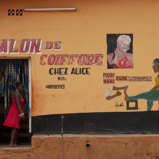 """Hairdress saloon in kigali muslim quarter - rwanda"" stock image"