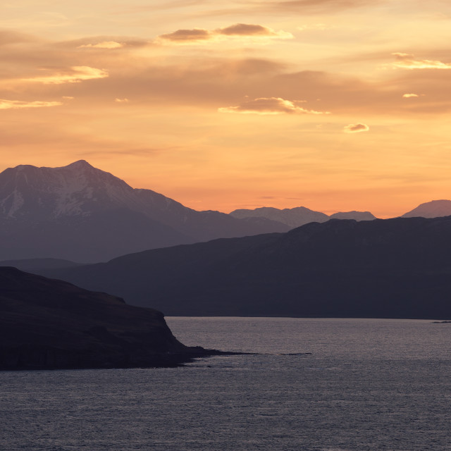 """Sunrise over the Sleat Peninsula"" stock image"
