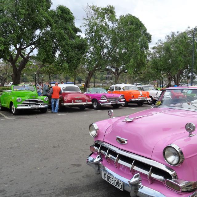 """""""Vintage American cars in Havana"""" stock image"""