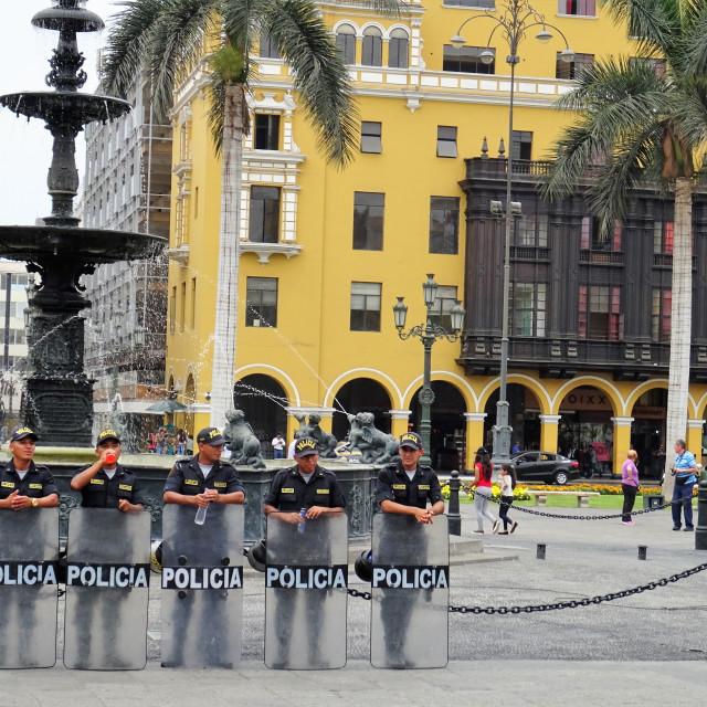 """Police in Lima, Peru"" stock image"