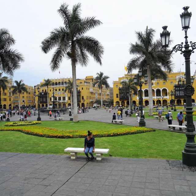 """Girl in central Lima, Peru"" stock image"