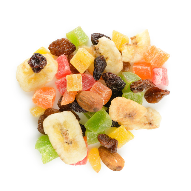 """""""Heap of dry fruits on white background"""" stock image"""