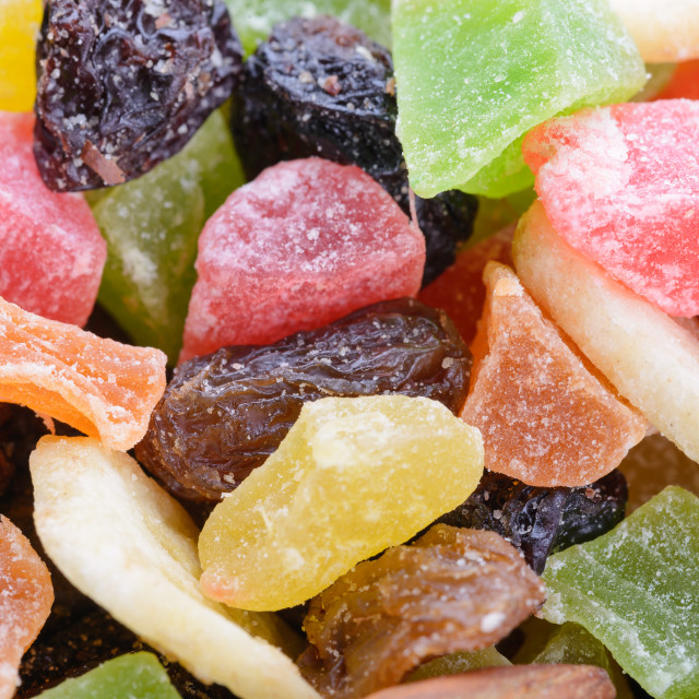 """""""Macro of various colorful dry fruits"""" stock image"""