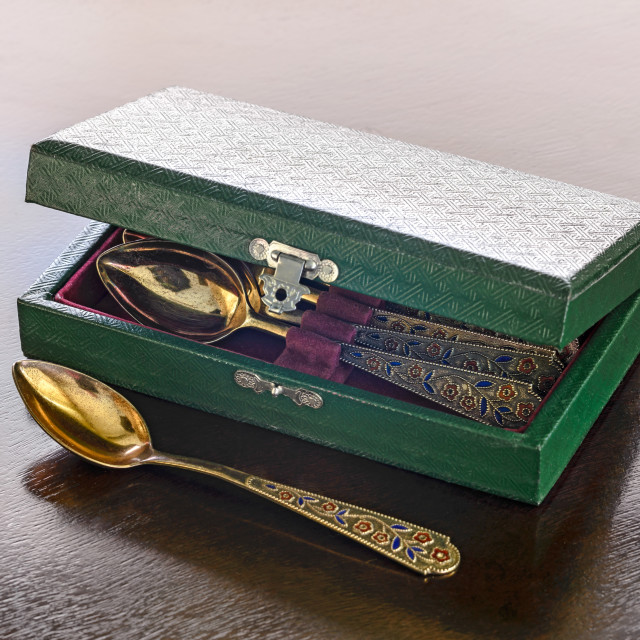 """""""Antique Gold Spoons Case"""" stock image"""