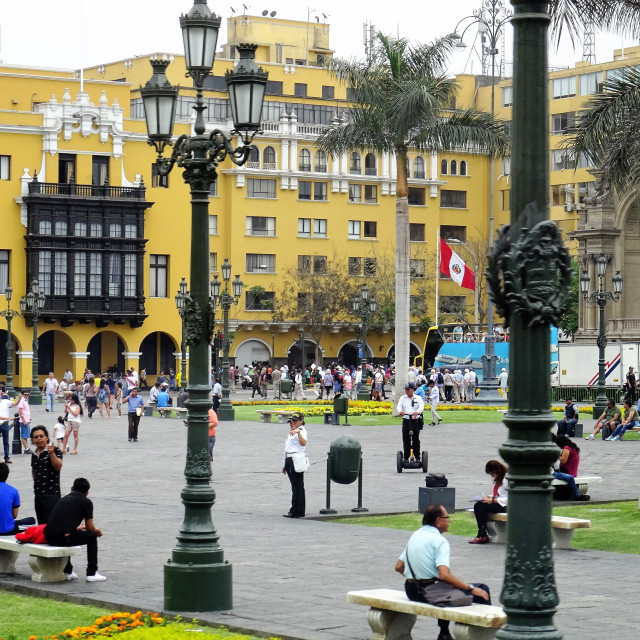 """Life in Plaza Major, Lima"" stock image"