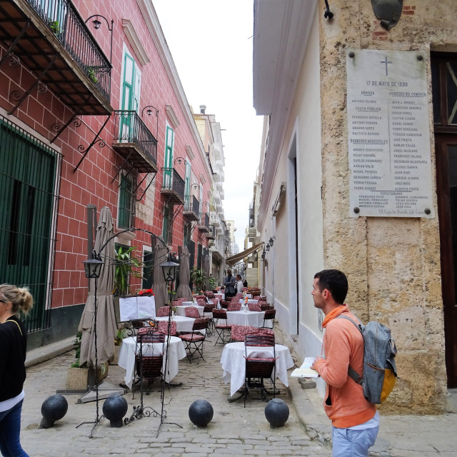 """Street restaurants in old Havana"" stock image"