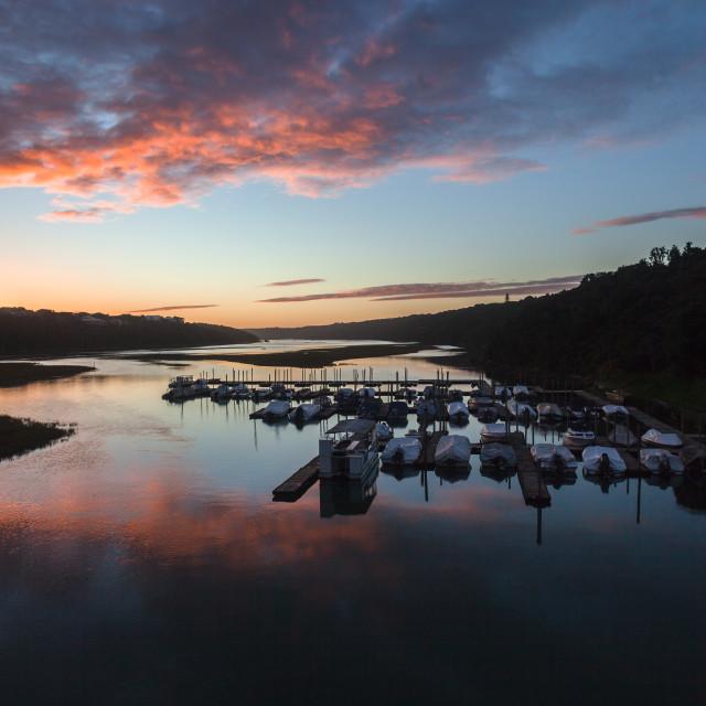 """River Lagoon Boats Beautiful Landscape"" stock image"