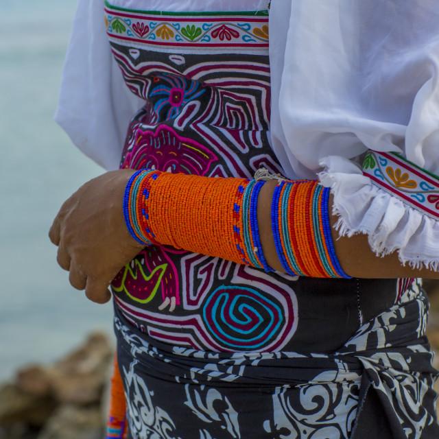"""""""Panama, San Blas Islands, Mamitupu, A Kuna Indian Woman Wearing Beads..."""" stock image"""