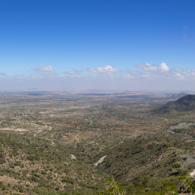 """""""A Panoramic View Of The Sheikh Hussein Mountains, Somaliland"""" stock image"""