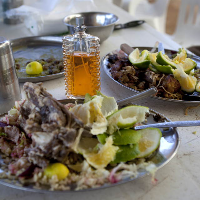"""""""Leftovers Of A Meat Meal In A Silvery Plate At A Restaurant, Somaliland"""" stock image"""