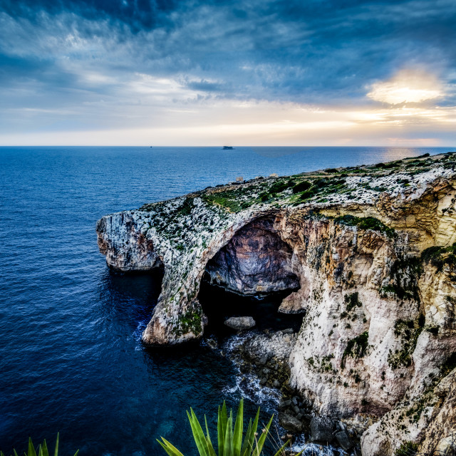 """Blue Grotto approach with Filfla in the background"" stock image"