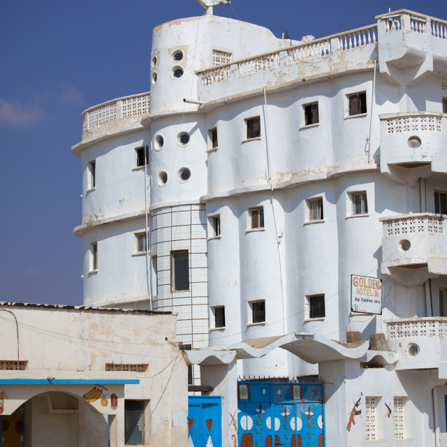 """""""White Building Of An Abandoned Golden Hotel, Burao, Somaliland"""" stock image"""